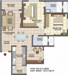 1376 sqft, 2 bhk Apartment in Prestige Song Of The South Begur, Bangalore at Rs. 0