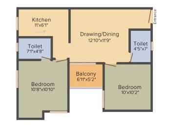 823 sqft, 2 bhk Apartment in Srijan Eternis Madhyamgram, Kolkata at Rs. 0