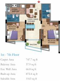 1183 sqft, 2 bhk Apartment in Belani Zest Rajarhat, Kolkata at Rs. 0