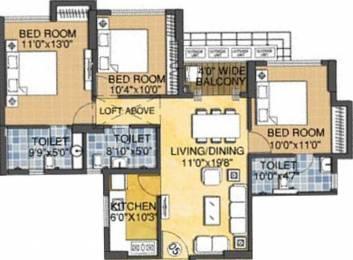 1258 sqft, 3 bhk Apartment in Rungta Madgul Antaraa Joka, Kolkata at Rs. 0