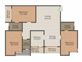 1469 sqft, 3 bhk Apartment in Navin Starwood Towers Vengaivasal, Chennai at Rs. 0