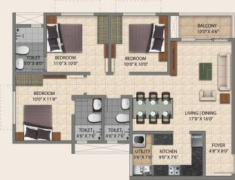 1314 sqft, 3 bhk Apartment in Provident Park Square Talaghattapura, Bangalore at Rs. 0