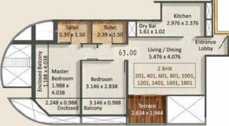 678.13 sqft, 2 bhk Apartment in Kumar Prospera A1 And A2 Hadapsar, Pune at Rs. 0