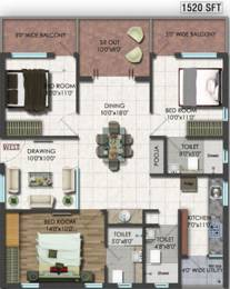 1520 sqft, 3 bhk Apartment in Raghuram A2A Life Spaces Sanath Nagar, Hyderabad at Rs. 0