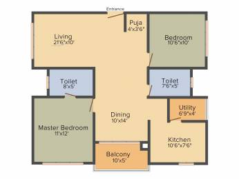 1210 sqft, 2 bhk Apartment in Cybercity Marina Skies Hitech City, Hyderabad at Rs. 0