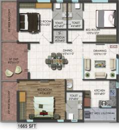 1665 sqft, 3 bhk Apartment in Raghuram A2A Life Spaces Sanath Nagar, Hyderabad at Rs. 0