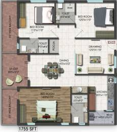 1755 sqft, 3 bhk Apartment in Raghuram A2A Life Spaces Sanath Nagar, Hyderabad at Rs. 0