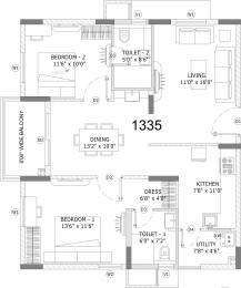 1335 sqft, 2 bhk Apartment in Ashoka Lake Side Manikonda, Hyderabad at Rs. 0