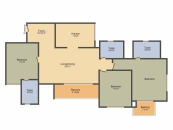 1697 sqft, 3 bhk Apartment in Prestige Lakeside Habitat Varthur, Bangalore at Rs. 0