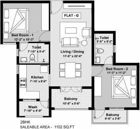 1102 sqft, 2 bhk Apartment in BBCL Ashraya Thoraipakkam OMR, Chennai at Rs. 0