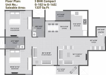 1337 sqft, 2 bhk Apartment in Arvind Sporcia Thanisandra, Bangalore at Rs. 0