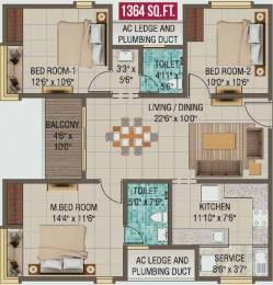 1364 sqft, 3 bhk Apartment in Alliance Galleria Residences Pallavaram, Chennai at Rs. 0