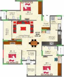 1595 sqft, 3 bhk Apartment in SNN Raj Greenbay Electronic City Phase 2, Bangalore at Rs. 0