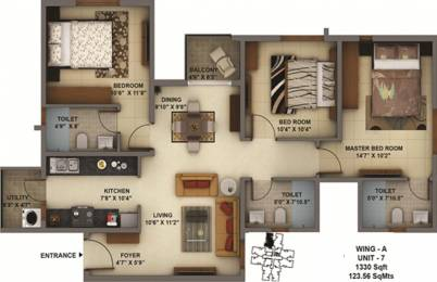 1330 sqft, 3 bhk Apartment in Mantri Energia Thanisandra, Bangalore at Rs. 0