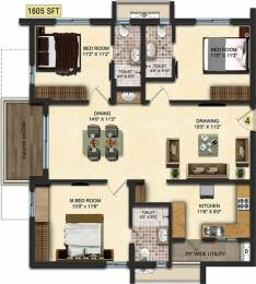 1604.9 sqft, 3 bhk Apartment in Accurate Wind Chimes Narsingi, Hyderabad at Rs. 0