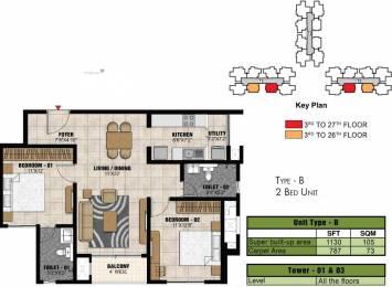 1130 sqft, 2 bhk Apartment in Prestige Park Square Gottigere, Bangalore at Rs. 0