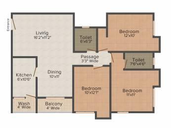 1386 sqft, 3 bhk Apartment in PS Arham New Town, Kolkata at Rs. 0