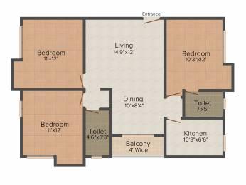 1373 sqft, 3 bhk Apartment in PS Arham New Town, Kolkata at Rs. 0