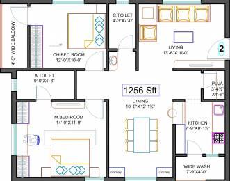 1256 sqft, 2 bhk Apartment in Hallmark Tranquil Manikonda, Hyderabad at Rs. 0