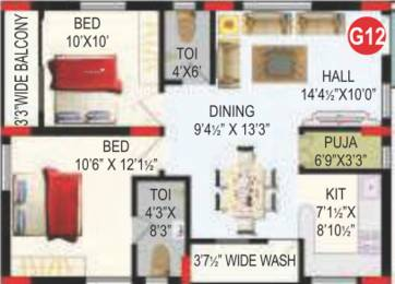 1013 sqft, 2 bhk Apartment in RV Bhaiji Panchajanya Kondapur, Hyderabad at Rs. 0