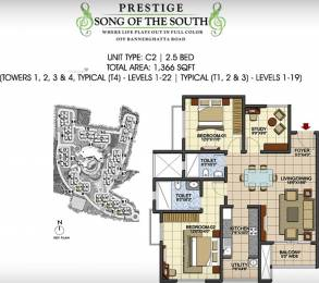 1366 sqft, 2 bhk Apartment in Prestige Song Of The South Begur, Bangalore at Rs. 0