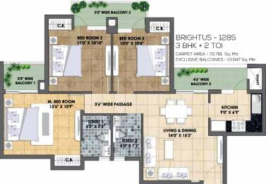 1285 sqft, 3 bhk Apartment in TATA Eureka Park Phase 1 Sector 150, Noida at Rs. 0