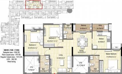 1506 sqft, 3 bhk Apartment in DRA 90 Degrees Madipakkam, Chennai at Rs. 0