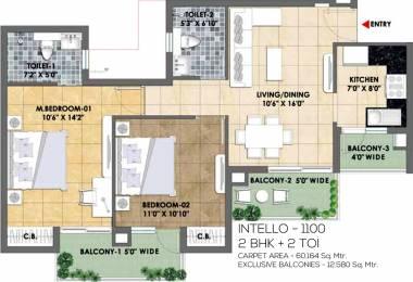 1100 sqft, 2 bhk Apartment in TATA Eureka Park Phase 1 Sector 150, Noida at Rs. 0