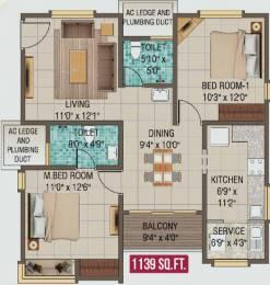 1139 sqft, 2 bhk Apartment in Alliance Galleria Residences Pallavaram, Chennai at Rs. 0
