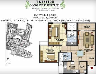 1235 sqft, 2 bhk Apartment in Prestige Song Of The South Begur, Bangalore at Rs. 0