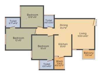 1330 sqft, 3 bhk Apartment in Sun South Park Bopal, Ahmedabad at Rs. 0