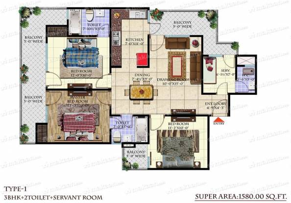 1580 sqft, 3 bhk Apartment in Andromida Planet One Indraprastha Yojna, Ghaziabad at Rs. 38.7100 Lacs