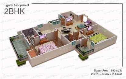 Freehold 2 BHK Flat available with  Swimming Pool & Lift Facility