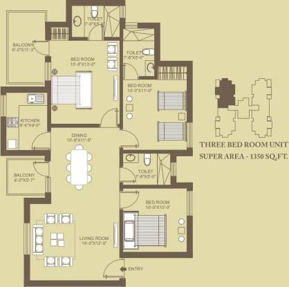 Orris Carnation Residency (3BHK+2T (1,485 sq ft) Apartment 1485 sq ft)