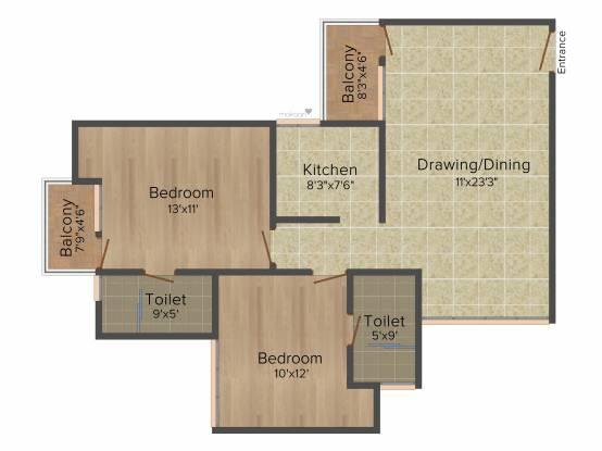 Ramprastha The Atrium (2BHK+2T (965 sq ft) Apartment 965 sq ft)