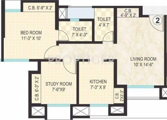 Dosti Vihar (1BHK+2T (814 sq ft) Apartment 814 sq ft)
