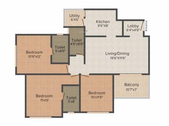 Pride Springfields (3BHK+3T (1,278 sq ft) Apartment 1278 sq ft)