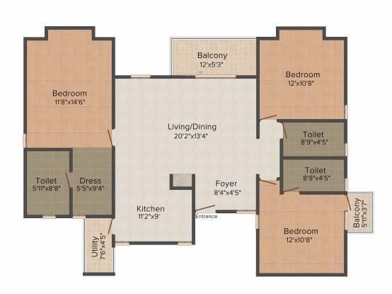 SJR The Pavilion (3BHK+3T (1,712 sq ft) + Pooja Room Apartment 1712 sq ft)