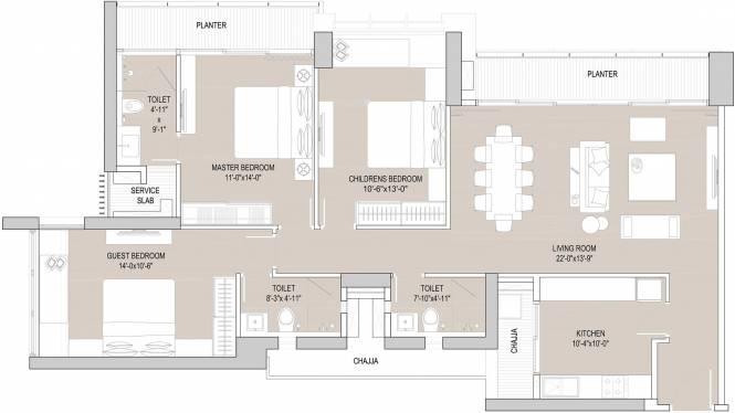 Oberoi Exquisite (3BHK+3T (1,081 sq ft) Apartment 1081 sq ft)