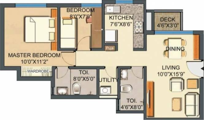 Lodha Casa Royale (2BHK+2T (972 sq ft) Apartment 972 sq ft)