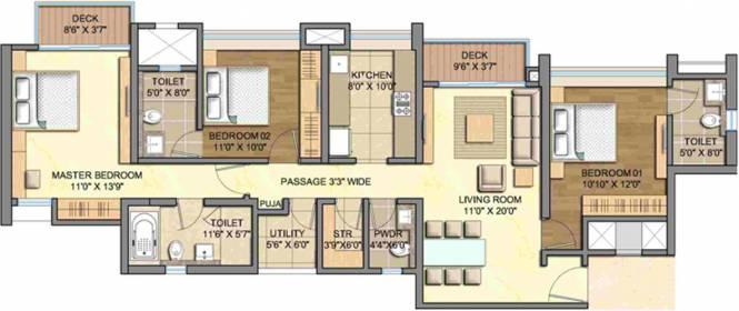 Lodha Aurum Grande (3BHK+4T (1,692 sq ft) + Servant Room Apartment 1692 sq ft)