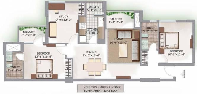 3C Lotus Boulevard (2BHK+2T (1,343 sq ft) Apartment 1343 sq ft)