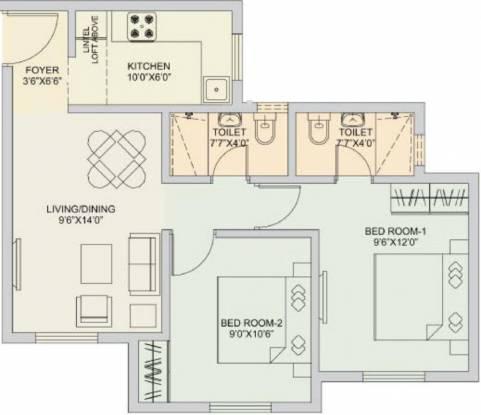 TATA New Haven (2BHK+2T (695 sq ft) Apartment 695 sq ft)
