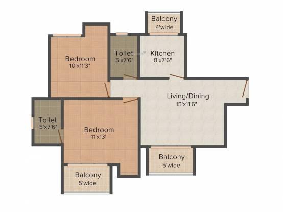 Sidharatha NCR Greens (2BHK+2T (990 sq ft) Apartment 990 sq ft)