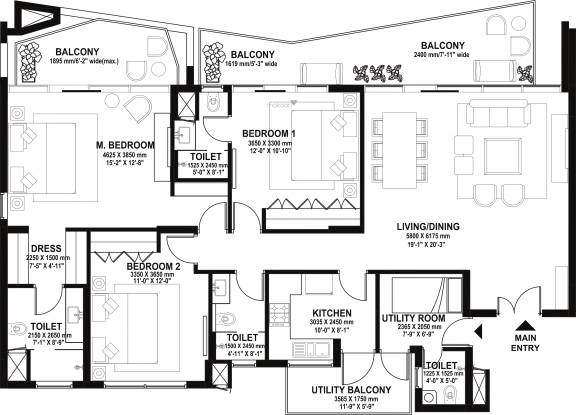 Ireo Skyon (3BHK+3T (2,045 sq ft) + Servant Room Apartment 2045 sq ft)