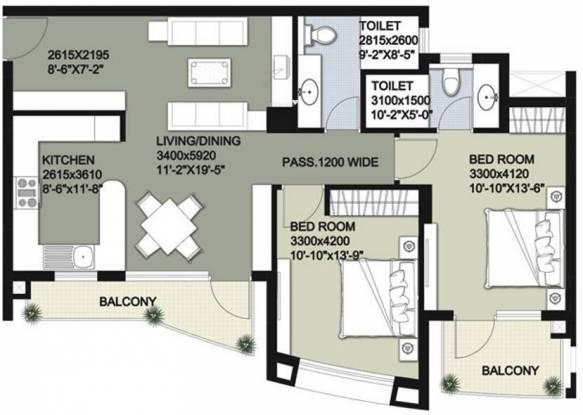 Raheja Vedas (2BHK+2T (1,365 sq ft) Apartment 1365 sq ft)