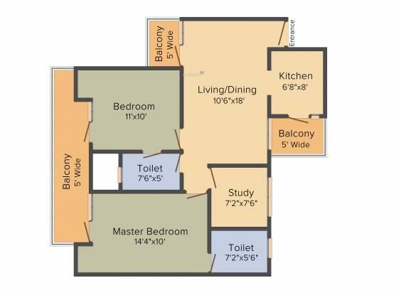 Nirala Aspire (2BHK+2T (1,180 sq ft)   Study Room Apartment 1180 sq ft)