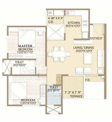Raviraj Ariiana (2BHK+2T (1,087 sq ft) Apartment 1087 sq ft)