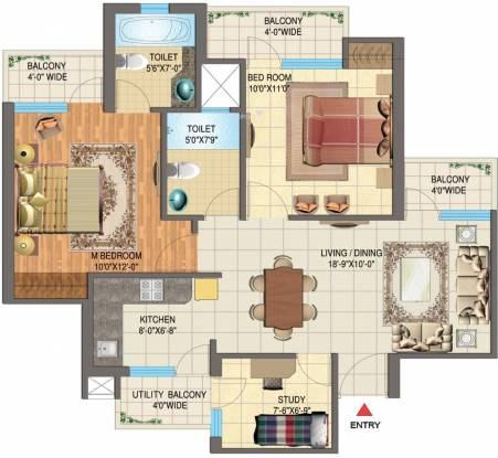 Nimbus The Golden Palms (2BHK+2T (1,085 sq ft) + Study Room Apartment 1085 sq ft)
