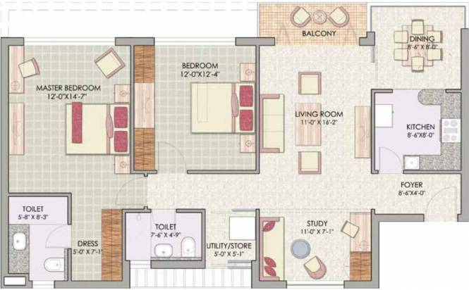 Jaypee Pavilion Heights (2BHK+2T (1,240 sq ft)   Study Room Apartment 1240 sq ft)